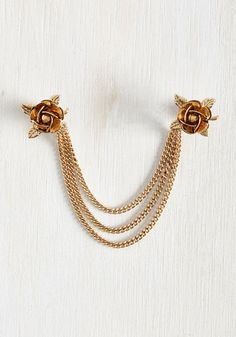 Fleur Often Than Not Collar Pin - Gold, Work, Casual, Vintage Inspired, 20s, Exclusives, Colorsplash