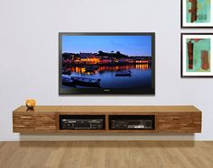 Wall Mounted TV Stand Entertainment Console Mayan Por WoodwavesInc