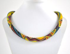 Mexico Necklace Yellow Blue Red Black Bead Crochet by LeeMarina