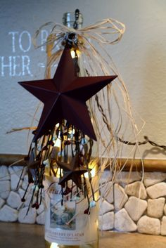 Wine Bottle Nightlight -- no drilling or cutting of glass. Wine Bottle Corks, Lighted Wine Bottles, Wine Bottle Crafts, Bottle Lamps, Bottle Lights, Cork Crafts, Diy Crafts, Recycled Glass Bottles, Bottle Trees