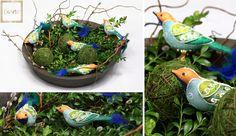Kolorowe ptaszki zwiastują wiosnę - również te szklane :)