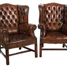 Pair Of Brown Leather Wing Chairs - Antiques Atlas Antique Chairs, Antique Furniture, Wingback Chair, Armchair, World Market Dining Chairs, Comfortable Living Room Chairs, Home Bar Designs, Leather Chesterfield, Rustic Chair