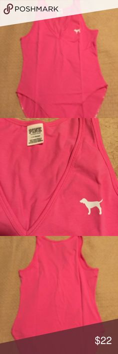 Pink VICTORIA Secret V-Neck Bodysuit NWOT 95% cotton, 5% Elastane. Has v neck and sleeveless. Has 3 snaps to fasten . Across bust 17 inches laying flat . From shoulder  seam to snaps is 30 inches. PINK Victoria's Secret Tops