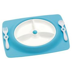 Skip Hop Mate Stay-Put Mat, Plate and Utensil Set Blue