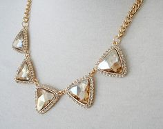 Champagne White Triangular Crystal Jeweled Statement Necklace