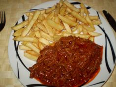 Steak, Spaghetti, Food And Drink, Cooking, Ethnic Recipes, Red Peppers, Baking Center, Koken, Spaghetti Noodles