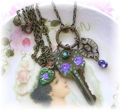 Vintage Key Necklace Hand Painted Purple Roses by TheVintageHeart, $20.00