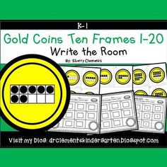 50% off for 24 hrs~(until 11:59 PM EST 03/11/17) Gold Coins Write the Room (Ten Frames 1-20) March - St. Patrick's DayThis resource includes four pages of numbered cards in color with a total of 20 cards. Each numbered card has a gold coin with a ten frame(s) filled in with black dots to represent each number 1-20.