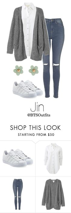 """Imitating Him at a Fansign: Jin"" by btsoutfits ❤ liked on Polyvore featuring adidas Originals, rag & bone, Topshop, Monki and Monsoon"