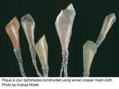 'Copper Mesh Plique a Jour' by Jaime Frechette from Glass on Metal Magazine, Volume 21, Number 2, April 2002 (enamel on copper mesh and copper mesh cloth)