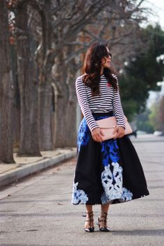 HallieDaily  | Stripe Top and Full Skirt