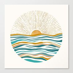 Buy Hello Sunshine Art Print by Modern Tropical. Gallery-grade art prints and framed prints by living artists the world over. Worldwide shipping available. Painting Inspiration, Art Inspo, Inspiration Wall, Teal Art, Diy Canvas, Diy Art, Watercolor Art, Art Projects, Art Drawings