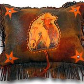 Patricia Wolf Leather Throw Pillow