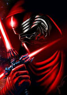 Una imagen de la guerra de las galaxias representando a Kylo ren con su espada láser imperial 😁