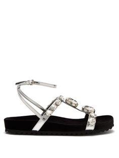 22f33a35d43 Crystal-embellished velvet and leather sandals
