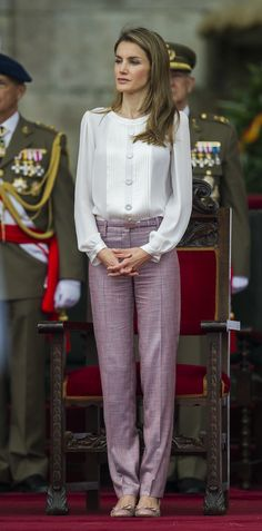 Letizia, Princess of Asturias wore purple pants to attend a military event in Pontevedra, Spain, back in July 2013.