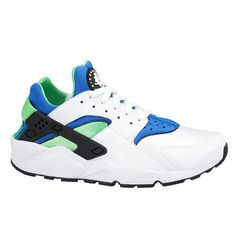 #Nike Air Huarache White/Scream Green-Royal Blue/Black #sneakers