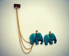ear cuff with turquoise elephant earrings