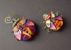 Colourful polymer clay bugs by Karyn Kozak Designs. Polymer Clay Kunst, Polymer Clay Figures, Polymer Clay Animals, Fimo Clay, Polymer Clay Projects, Polymer Clay Creations, Polymer Clay Beads, Clay Owl, Biscuit