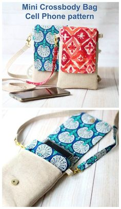 Sewing pattern for a mini crossbody bag cell phone wallet. This cell phone pouch sewing pattern is ideal for beginners and scrap friendly. Its a quick and easy sewing pattern to make a small bag to…More Bag Sewing Pattern, Easy Sewing Patterns, Bag Patterns To Sew, Sewing Tutorials, Wallet Pattern, Sewing Tips, Sewing Hacks, Beginners Sewing, Bag Tutorials