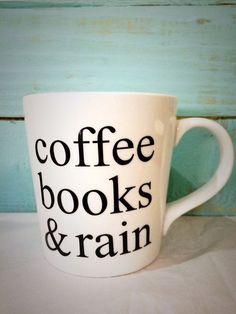 Coffee Books & Rain Mug by CutsAndCreations on Etsy - three of my favorite things: coffee, books, and rain! Coffee Is Life, I Love Coffee, My Coffee, Coffee Shop, Coffee Cups, Tea Cups, Coffee Beans, Coffee Scrub, Starbucks Coffee