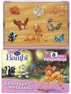 Bambi: Leikitään metsässä! -palapelikirjassa leikitään Bambin, Rumpalin ja muiden metsäneläinten kanssa. Mukana on kaikista hahmoista tukeva palapelin pala, jonka lapsi voi sovittaa oikealle paikalle. Lisäksi aukeamilla on hauskoja loruja. Palapelien kokoaminen on hauskaa ja kehittävää puuhaa perheen pienimmälle! Bambi, Pikachu, Fictional Characters, Fantasy Characters