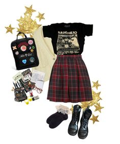 """""""the bends"""" by ghostea ❤ liked on Polyvore featuring Dr. Martens, Fjällräven, Muji, Bobbi Brown Cosmetics, Polaroid, grunge, 90s, japanesestreetstyle and jfashion"""