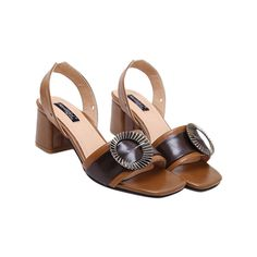 Slingback Buckle Strap Sandals Brown ($45) ❤ liked on Polyvore featuring shoes, sandals, brown slingback, buckle strap sandals, brown slingback shoes, sling back sandals and slingback sandals