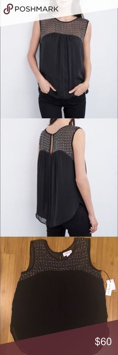 Velvet by G&S ELORA BEADED CHIFFON TOP NWT & NEVER BEEN WORN. THIS SLEEVELESS TOP HAS INTRICATE BEADWORK, A SCOOPED HEM IN FRONT AND BACK AND A TRAPEZE SILHOUETTE. IT IS CRAFTED FROM SHEER, LIGHTWEIGHT CHIFFON WITH LINING THROUGH THE BODY. Velvet Tops Blouses