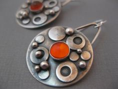 Bubble Earrings. Sterling silver rounds with Mexican Opal. By StrawberryFrog on Etsy.