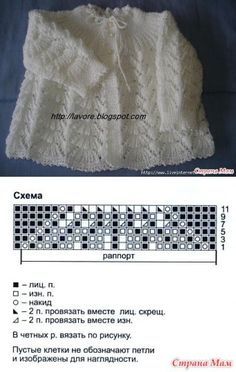 Lovely lace baby jacket, including a chart for the lace pattern