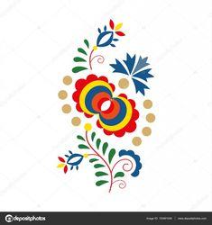 Tradiční lidový ornament a vzor, květinové výšivky symbol — Stocková ilustrace Folk Art Flowers, Flower Art, Tole Painting, Fabric Painting, Polish Folk Art, African Crafts, Scandinavian Folk Art, Mosaic Wall, Pattern Art