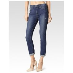 PAIGE Carter Slim - Tamara Caballo Inseam ($229) ❤ liked on Polyvore featuring jeans, cropped, pants, tamara caballo inseam, high waisted jeans, skinny jeans, boyfriend jeans, stretch skinny jeans and white high waisted jeans