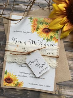 This rustic sunflower wedding invitation is ideal for any countrybarn vintage rustic or garden wedding. My invitation suites are printed on your choice of matte white or ivory white or ivory linen or white or ivory shimmer cardstock Kraft or Ivory Barn Wedding Invitations, Sunflower Wedding Invitations, Rustic Invitations, Sunflower Weddings, Wedding Sunflowers, Invitation Design, Shower Invitations, Wedding Stationery, Invitation Cards