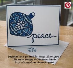 Christmas card created using the Delicate Ornament Thinlits Dies and Christmas Greetings Thinlits Dies from Stampin' Up!  http://tracyelsom.stampinup.net
