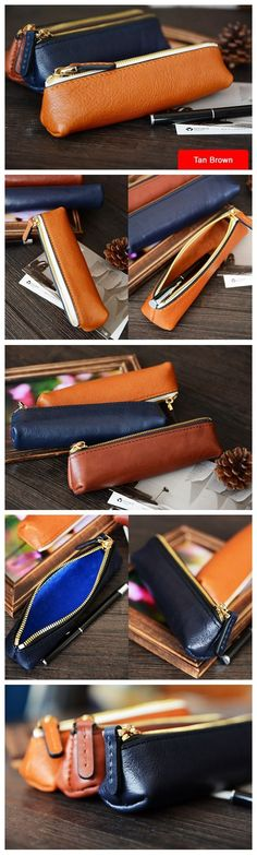 Custom Handmade Vegetable Tanned Italian Leather Pen Bag Pencil Case Pen Pouch