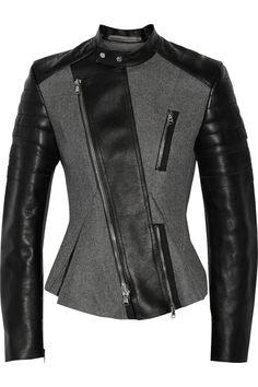 3.1 Phillip LimLeather-paneled wool-blend biker jacket