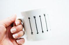 A super simple way to customize a plain mug. #DIY #arrow