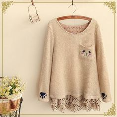 Buy Fairyland Animal Chiffon Panel Knit Top at YesStyle.com! Quality products at remarkable prices. FREE WORLDWIDE SHIPPING on orders over US$35.