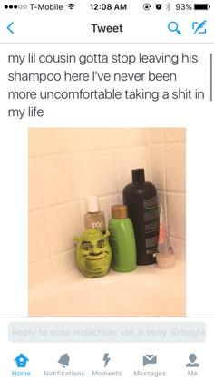 *whispers* Shrek is love; Shrek is life Really Funny Memes, Stupid Funny Memes, Funny Laugh, Funny Tweets, Funny Relatable Memes, Hilarious Stuff, Shrek, Funny Pins, Dankest Memes