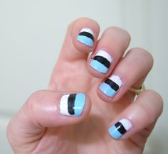 simple nail art for short nails...it's not perfect, but you get the idea...