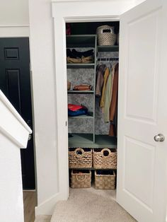DIY Entry Closet Makeover {Finally!!!!} – Love & Renovations Closet Inserts, Shoe Cubby, Using A Paint Sprayer, Entry Closet, Pocket Hole Screws, Small Entryways, Cubbies, Closet Organization, Strip Lighting