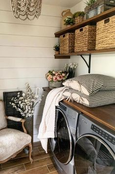These laundry room ideas will inspire you to get creative and get organized. Try not to redo your room after seeing these. Tips included for tiny laundry room, regular sized laundry rooms, and big laundry rooms with everything from modern and rustic farmhouse designs. Room Makeover, Room Design, Home, Refinishing Furniture, Chair Upholstery, Upholstery Fabric For Chairs, Tiny Laundry Rooms, Painted Chairs, Upholstery