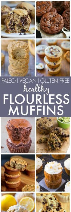 Healthy Flourless Muffins (V, GF, P, DF)- The best clean eating muffins made with ZERO flour, butter, oil or refined sugar yet fluffy and delicious! Loads of diet options and perfect for breakfast and snacks! {vegan, gluten free, paleo recipe}- thebigmansworld.com