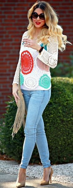 #fall #trending #outfits | Crocheted Flowers + Denim