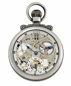Gotham Men's Antique Silver-Tone Mechanical Pocket Watch with Built-in Stand # GWC14068S Gotham. $199.95