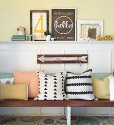 Love these black and white pillows from @sewandcloth that @lollyjaneblog has in her cute entryway! I'm also a little partial to that (4) sign, see my gallery wall a few posts back. You can order yours from their shop @lollyletters.  #craftedsparrowfaves