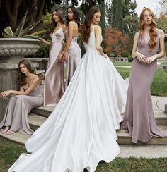 Jenny Yoo's Spring / Summer 2020 features a variety of unique silhouettes, styles & colors such as airy hues of rust red, emerald / sage green, blush pink or light sky blue. This collection of long bridal party dresses is fresh, one-of-a-kind and modern with floral appliques and romantic / sexy cuts and fabrics such as luxe velvets, soft tulle, gorgeous and sleek satins. This season features a new clean, simple and feminine print called Painted Petal. Photo by This Modern Romance. Bridal Party Dresses, Bridesmaid Dresses, Wedding Dresses, Bridesmaids, Silk Satin Dress, Satin Dresses, Bridesmaid Inspiration, Modern Romance, Summer Wedding