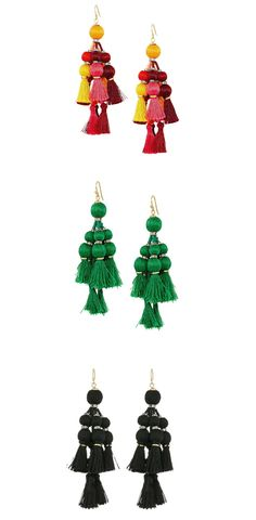 Ready, set, go!  Get into good cheer and captivate the crowd with the eye-catching excitement of the #katespadeny #Pretty #Poms #Tassel Statement #Earrings. #jewelry
