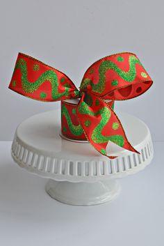 Red Green Swirl Ribbon